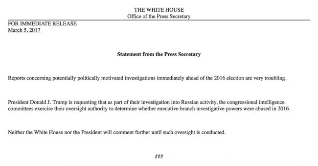 White House statement Russia