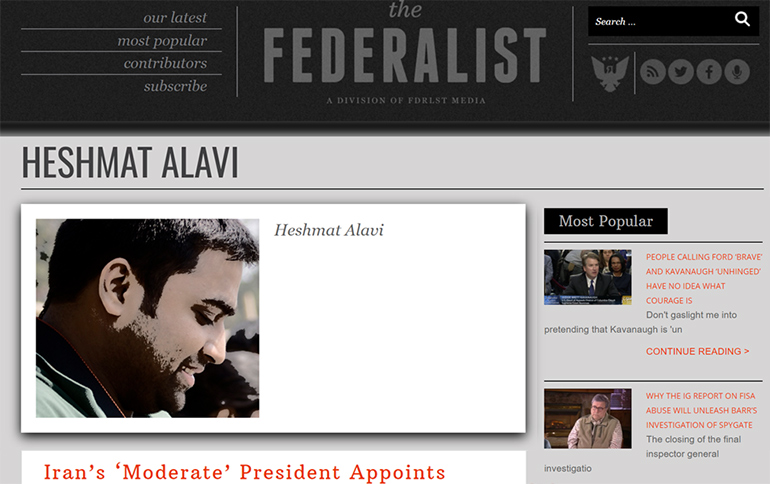 Heshmat Alavi page at The Federalist