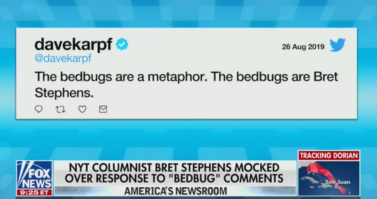Fox News Gives Fake Blue Check to Bret Stephens 'Bedbug' Guy