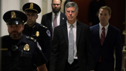 WASHINGTON, DC - OCTOBER 22: Bill Taylor (C), the top U.S. diplomat to Ukraine, arrives at a closed session before the House Intelligence, Foreign Affairs and Oversight committees October 22, 2019 at the U.S. Capitol in Washington, DC. Taylor was on Capitol Hill to testify to the committees for the ongoing impeachment inquiry against President Donald Trump. (Photo by Alex Wong/Getty Images)