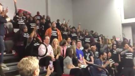 School Choice Protestors Interrupt Warren Campaign Event