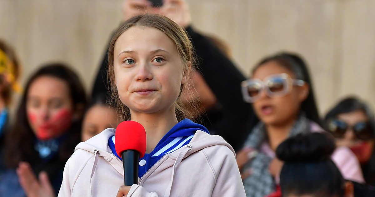 Swedish environment activist Greta Thunberg, 16, speaks during a climate protest at Civic Center Park in Denver, Colorado, on October 11, 2019.