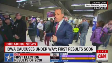 Early CNN IA Caucus Coverage Fulls of Huge Caveats, Meandering Crowds