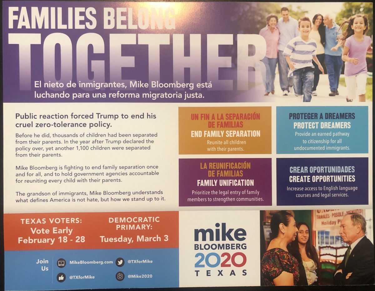 Bloomberg campaign Super Tuesday mailer