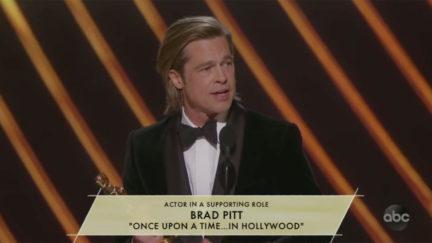 Brad Pitt Invokes John Bolton at Oscars