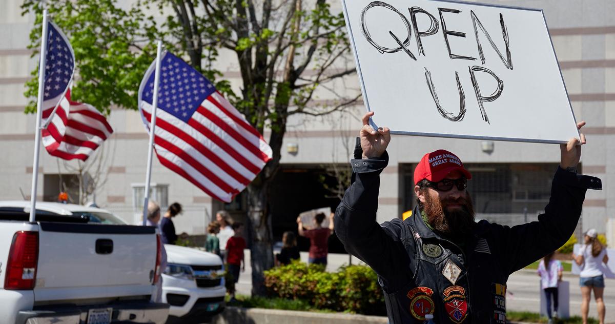 Protesters demonstrate against the North Carolina coronavirus lockdown