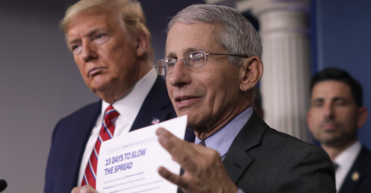 Trump and Fauci discuss the plan for combating coronavirus on March 20, 2020, at the White House