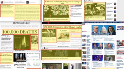 How News Orgs Home Page Covered the 100,000 Deaths Milestone
