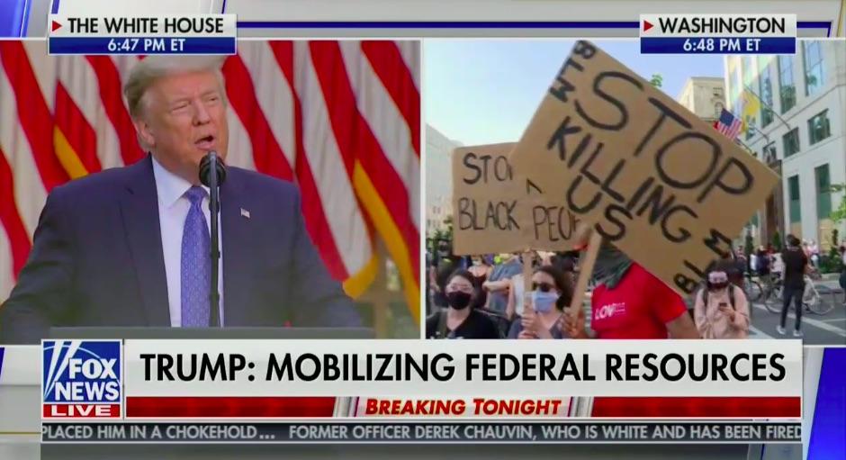Trump vs. Protestors, Split Screen, Fox News