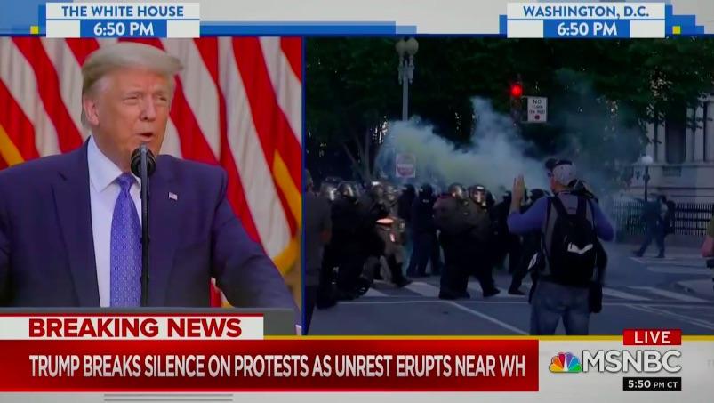 Trump vs. Protestors Split Screen Moment