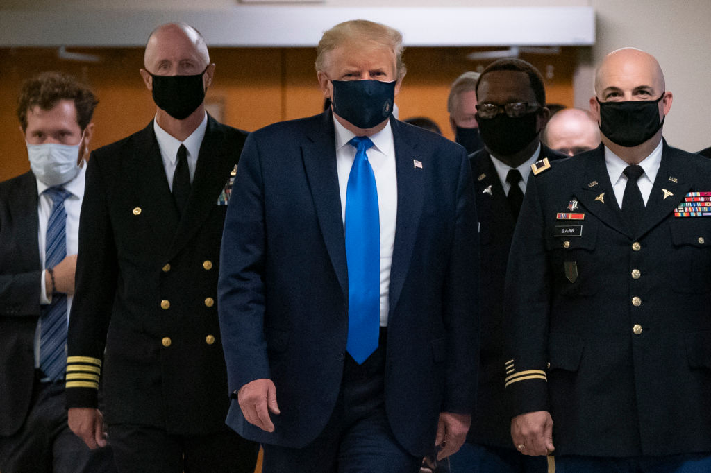 They're great! President Trump dons mask in public for first time