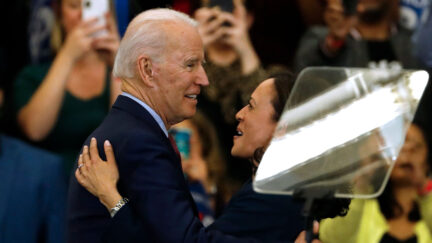 Senator Kamala Harris hugs Democratic presidential candidate former Vice President Joe Biden after she endorsed him at a campaign rally at Renaissance High School in Detroit, Michigan in March 2020.
