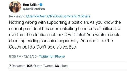 Ben Stiller Tweet