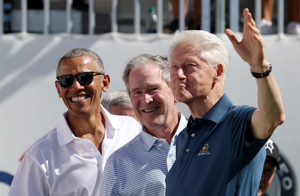Former Presidents Barack Obama, George W. Bush, and Bill Clinton