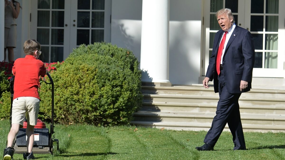 US President Donald Trump watches Frank Giaccio, 11, of Falls Church, Virginia, as he mows the lawn in the Rose Garden of the White House on September 15, 2017, in Washington, DC. Giaccio, who has his own lawn mowing business wrote a letter to the President asking if he could mow the lawn at the White House. / AFP PHOTO / Mike Theiler (Photo credit should read MIKE THEILER/AFP via Getty Images)