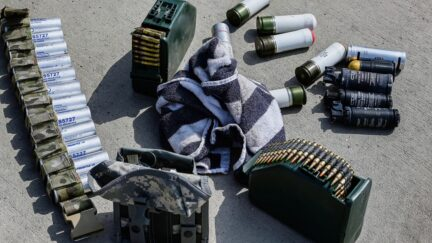 Ammunition is pictured lying on the ground at the airport in Kabul on August 31, 2021, after the US has pulled all its troops out of the country to end a brutal 20-year war -- one that started and ended with the hardline Islamist in power.