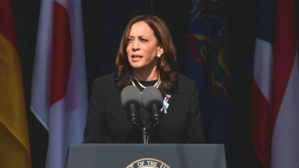 US Vice President Kamala Harris speaks during a 9/11 commemoration at the Flight 93 National Memorial in Shanksville, Pennsylvania on September 11, 2021. - America marked the 20th anniversary of 9/11 Saturday with solemn ceremonies given added poignancy by the recent chaotic withdrawal of troops from Afghanistan and return to power of the Taliban.