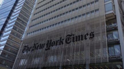 The sign on the west side of the New York Times building at 620 Eighth Ave. April 28, 2016 in New York.