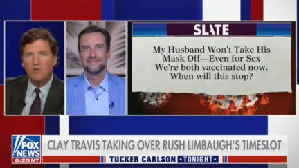 Tucker Carlson talks about a Slate column now revealed to be fake