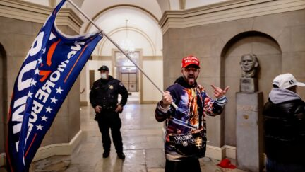 WASHINGTON, DC - JANUARY 6: Supporters of US President Donald Trump protest inside the US Capitol on January 6, 2021, in Washington, DC. - Demonstrators breeched security and entered the Capitol as Congress debated the 2020 presidential election Elect