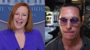 Jen Psaki Matthew McConaughey split image